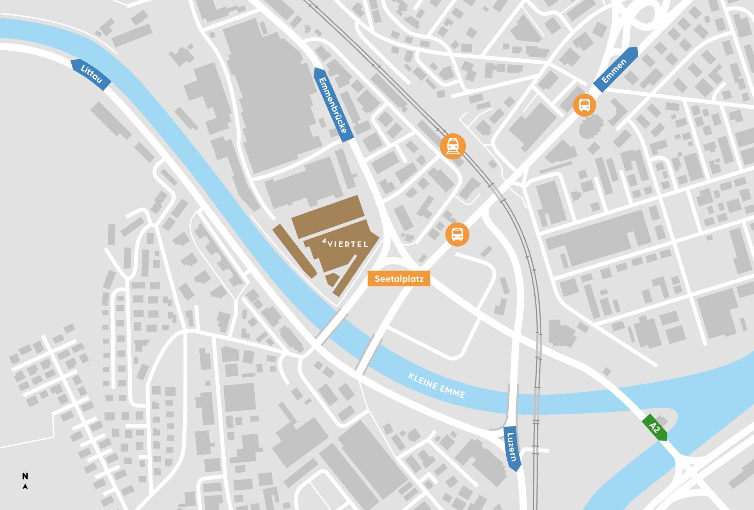 Lageplan 4VIERTEL am Seetalplatz mit Autobahnanschluss Bus und Zug